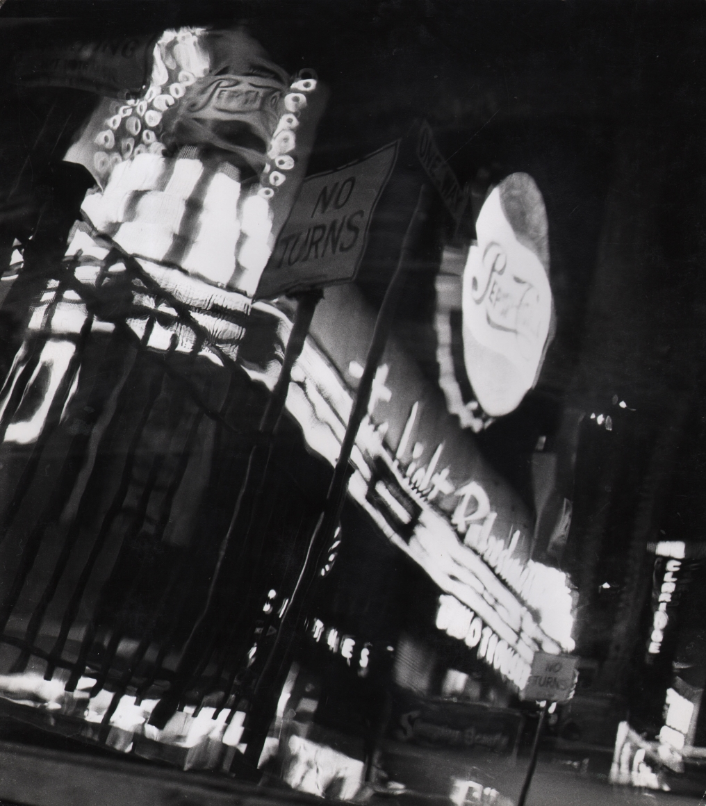 32. David Attie, Times Square, c. 1958. Night scene of neon signs and marquees, notably a large, round sign for Pepsi-Cola.