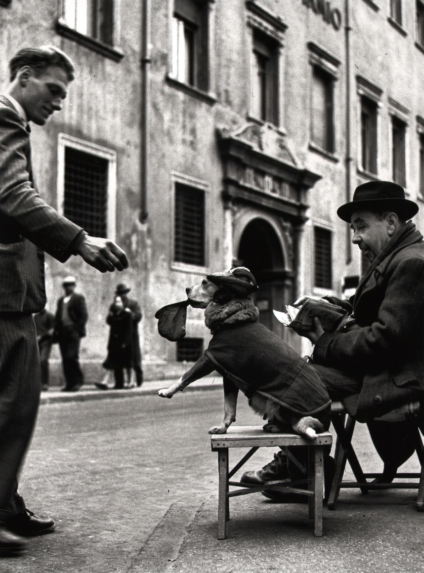 Nino Migliori, The Cashier, 1957. A clothed dog by a seated man accepts a coin from a man on the street.