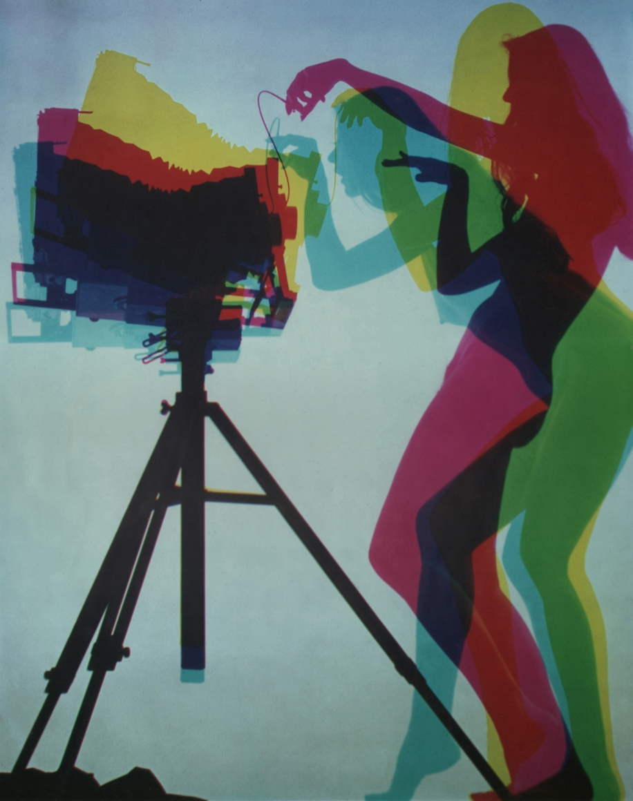 20. David Attie, Untitled, c. 1968. Color photo featuring separate color exposures (cyan, magenta, and yellow) of a woman in side profile in various positions operating a view camera.