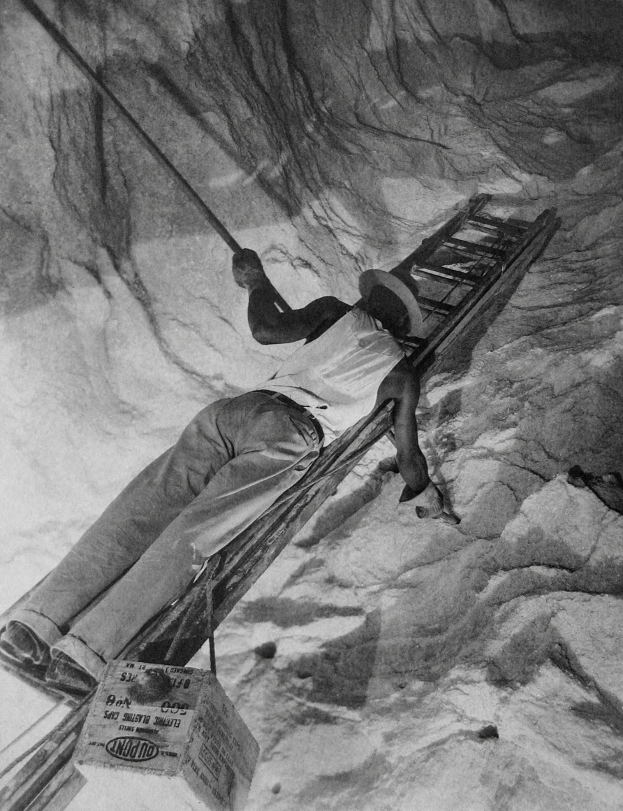 Harold Haliday Costain, Charging the Cliff with Dynamite, Avery Island, Louisiana, 1934. A man on a ladder occupies the frame diagonally.