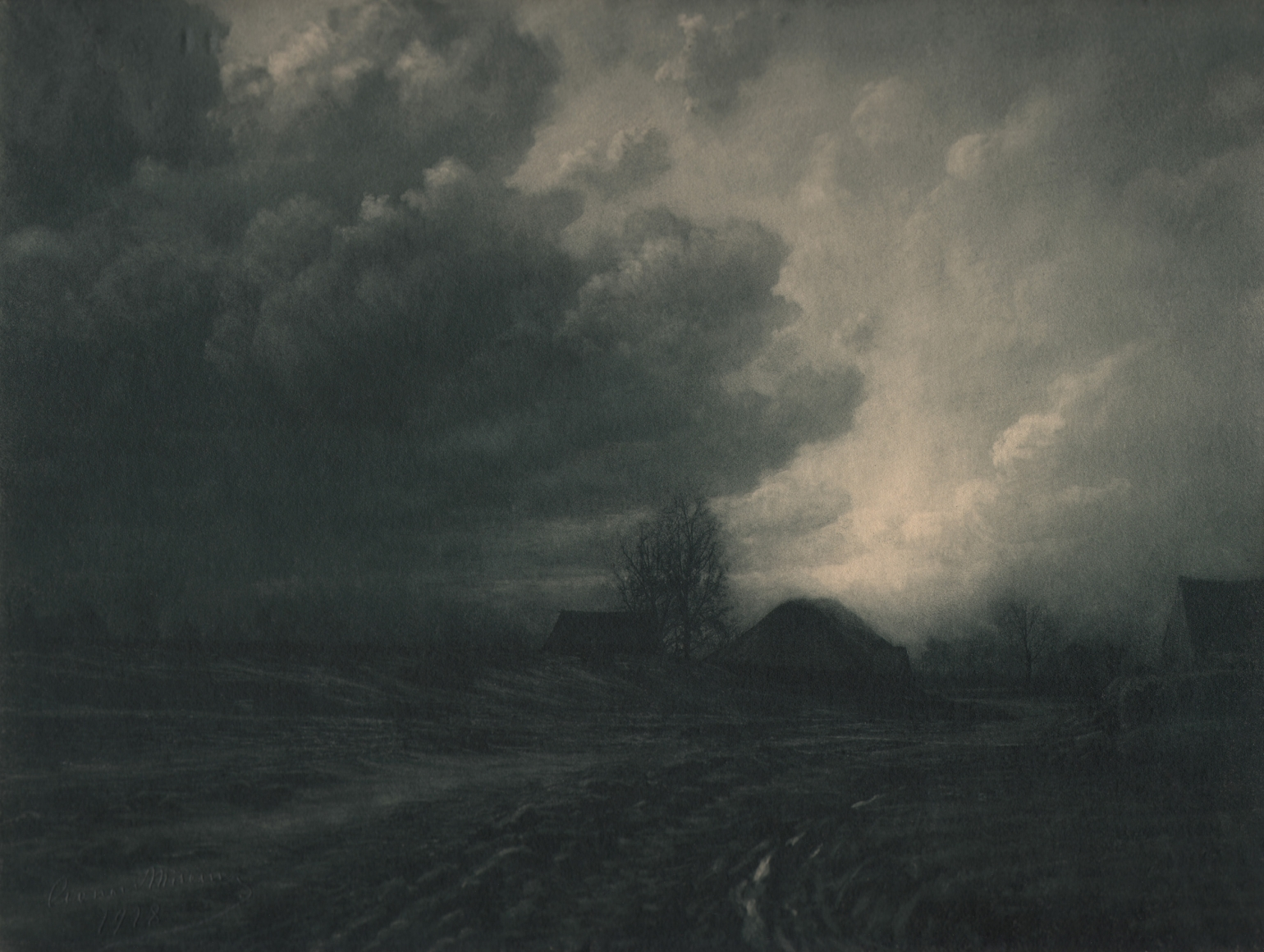 17. Léonard Misonne, Cumulus, 1928. Rural landscape with 2/3 of the frame occupied by clouds in dim light. Gray/green-toned print.