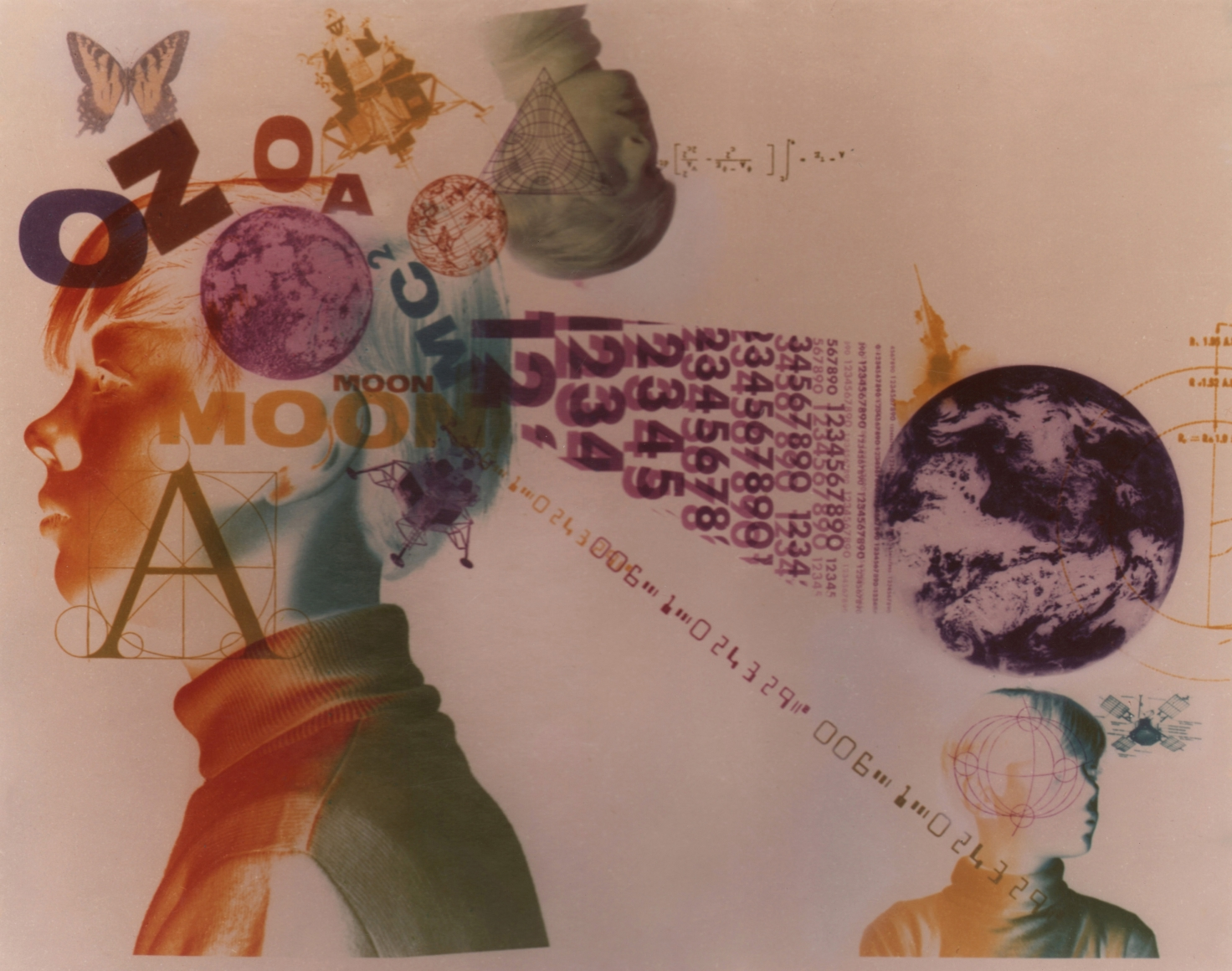 19. David Attie, Untitled, c. 1970. Composite color photo of three portraits in profile, featuring shapes formed by various numbers and letters, a globe, a butterfly, and more.