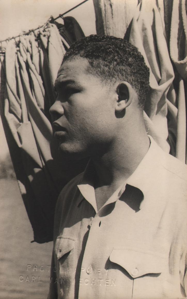 Carl Van Vechten, Joe Louis, 1941. Subject is in profile facing left, outdoors in direct sunlight.