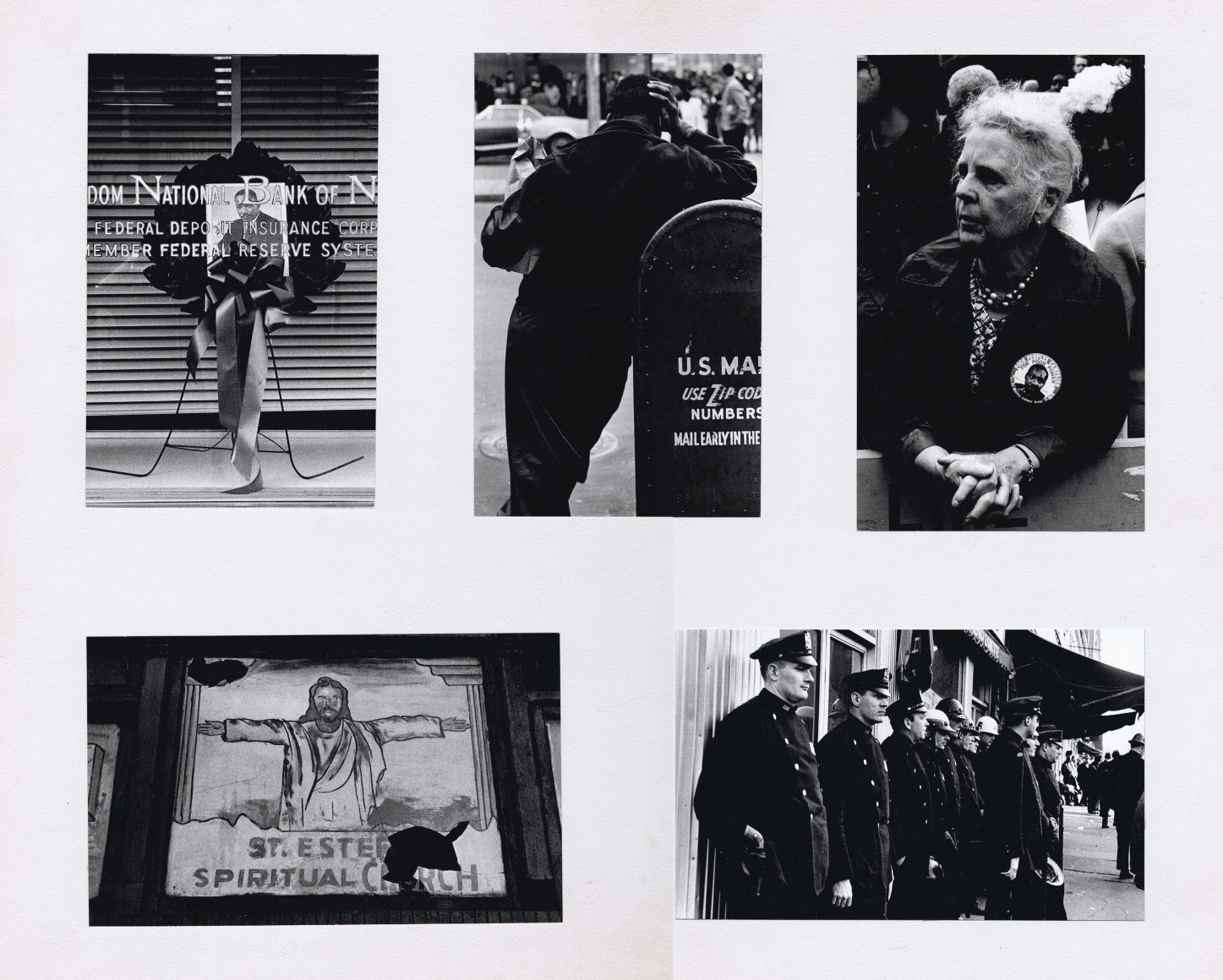 """32. Beuford Smith, I Have a Dream: The Assassination of Martin Luther King, Jr., April 5, 1968. Five photographs mounted on white board. Features a church, a man leaning against a mailbox, a line of police officers, a wreath with MLK's portrait in the center, and a woman wearing a pin with """"Poor Peoples Campaign"""" and MLK's portrait on it."""