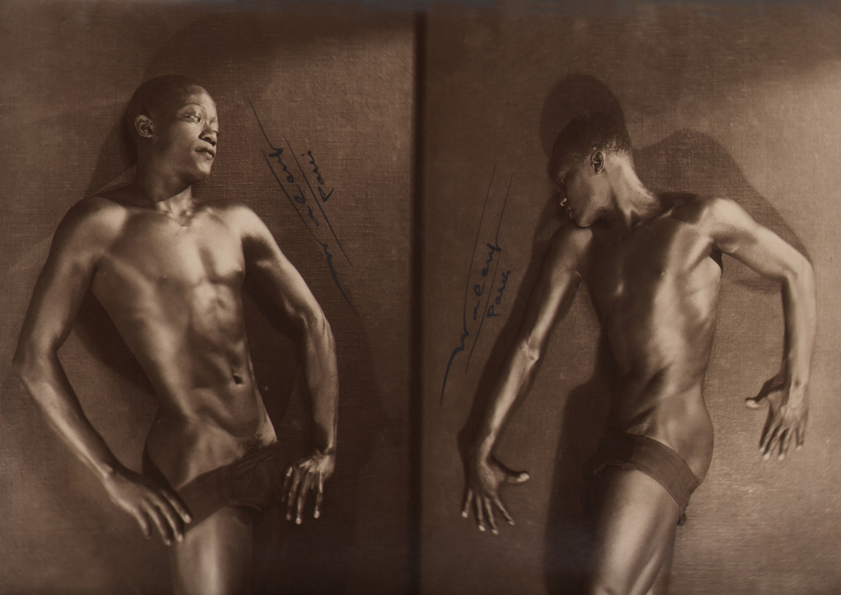 Lucien Walery, Feral Benga Diptych, c. 1925. Two side by side photos of the shirtless subject, poses are facing each other.