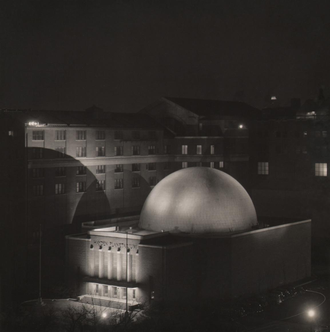 Paul J. Woolf, Hayden Planetarium, c. 1935. Night time view of domed planetarium building.