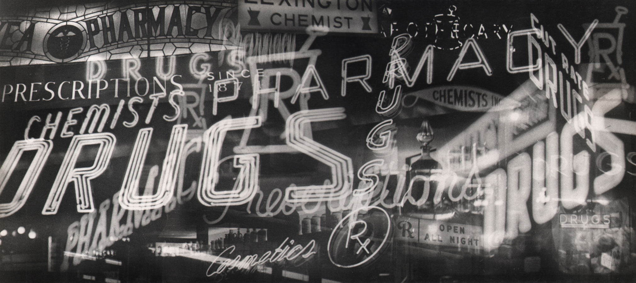 09. David Attie, Untitled (Pharmaceuticals), c. 1958. Multiple-exposure photograph of various neon signs, all pharmacy-related.