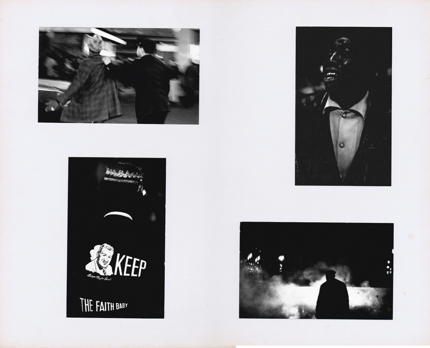 """33. Beuford Smith, I Have a Dream: The Assassination of Martin Luther King, Jr., April 5, 1968. Four photographs mounted on white board. Features a man being arrested, a young man crying, a man wearing a jacket that reads """"Keep the faith, baby,"""" and a figure silhouetted against clouds of smoke."""