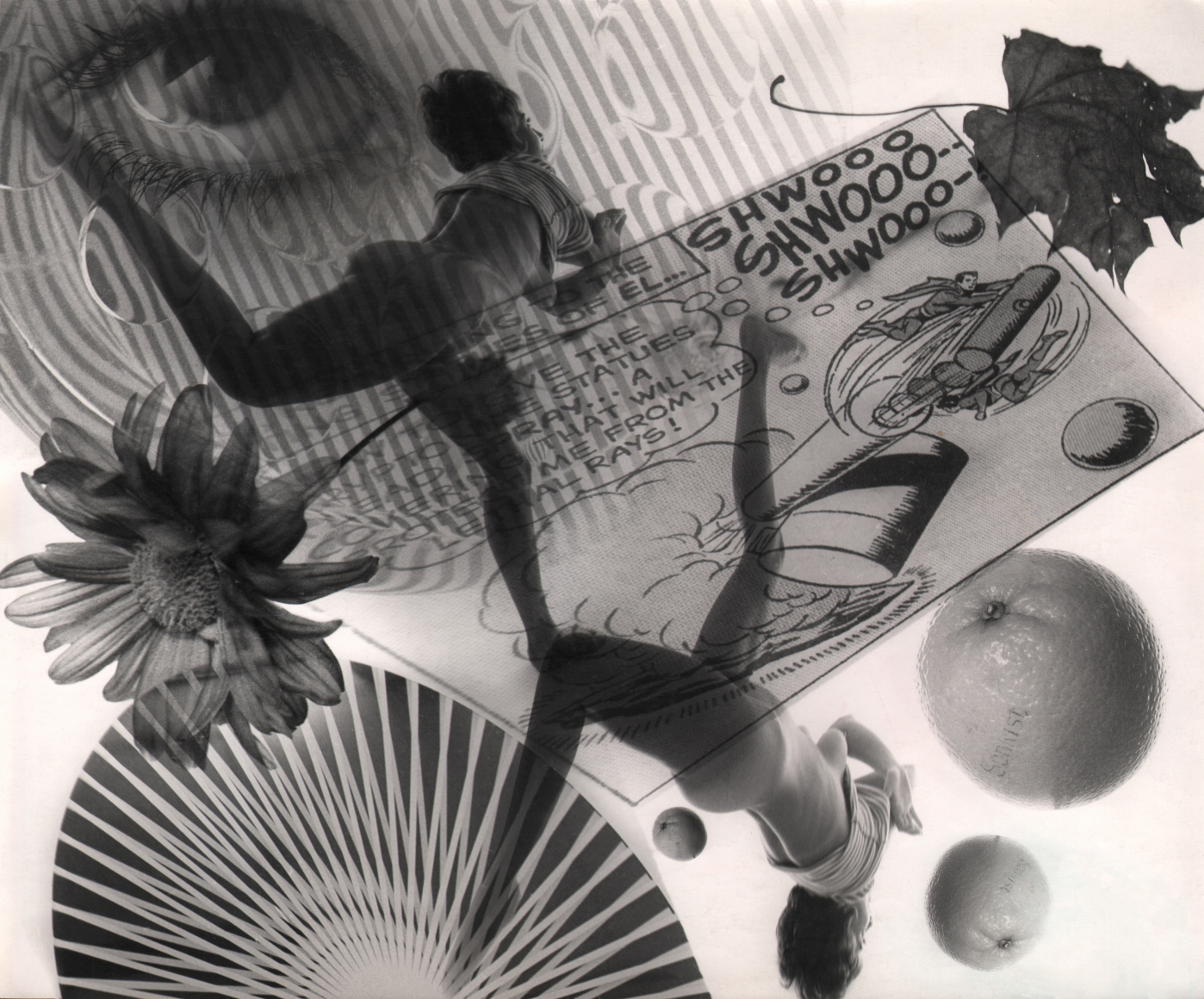 17. David Attie, Untitled Montage, c. 1965. Composite photo featuring two images of a woman in a leaping pose, fruits, flowers and leaves, an eye, and more.