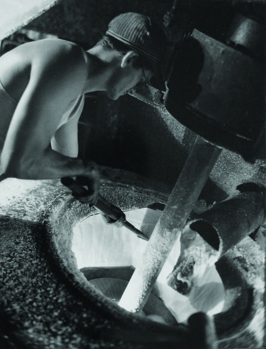 Harold Haliday Costain, Cleaning the Centrifugal, Avery Island, Louisiana, 1934. A worker reaches into the machine.