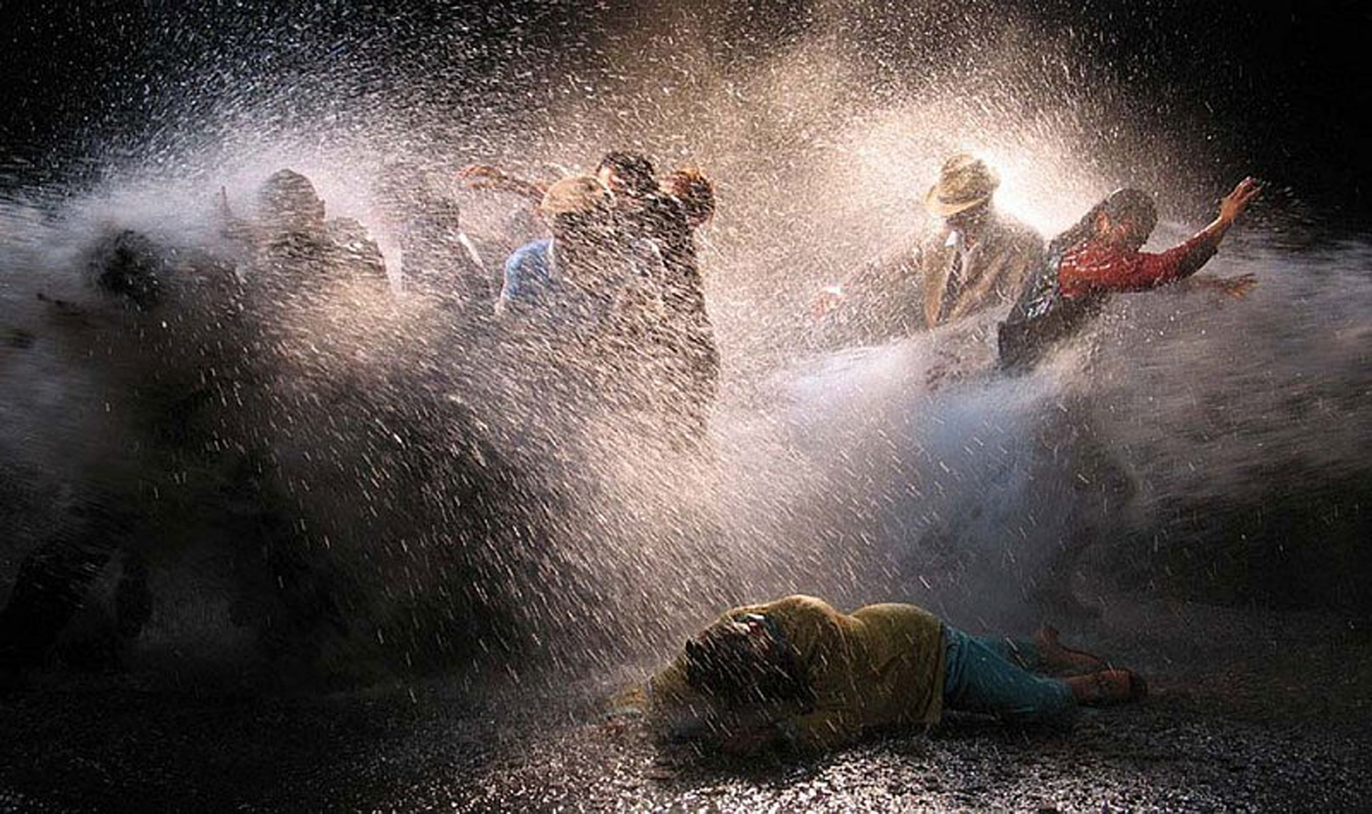 Bill Viola, The Raft, 2004, color high-definition video projection on wall, 156 × 87 4/5 in