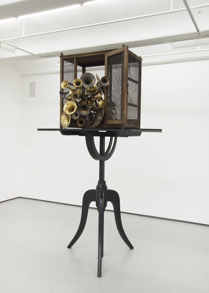 Radcliffe Bailey, If Bells Could Talk, 2015, wood, trumpets, and trombones, 116 ½ × 56 × 57 in.