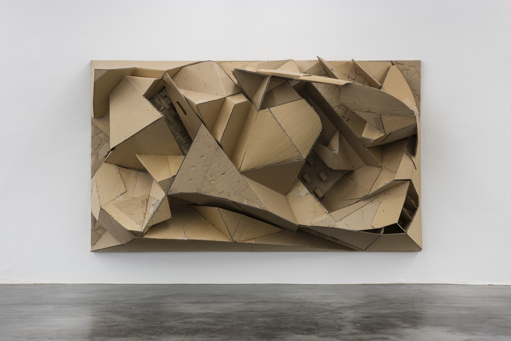 Florian Baudrexel, Ronic, 2016, cardboard on wooden frame, 73 × 126 × 35 in.
