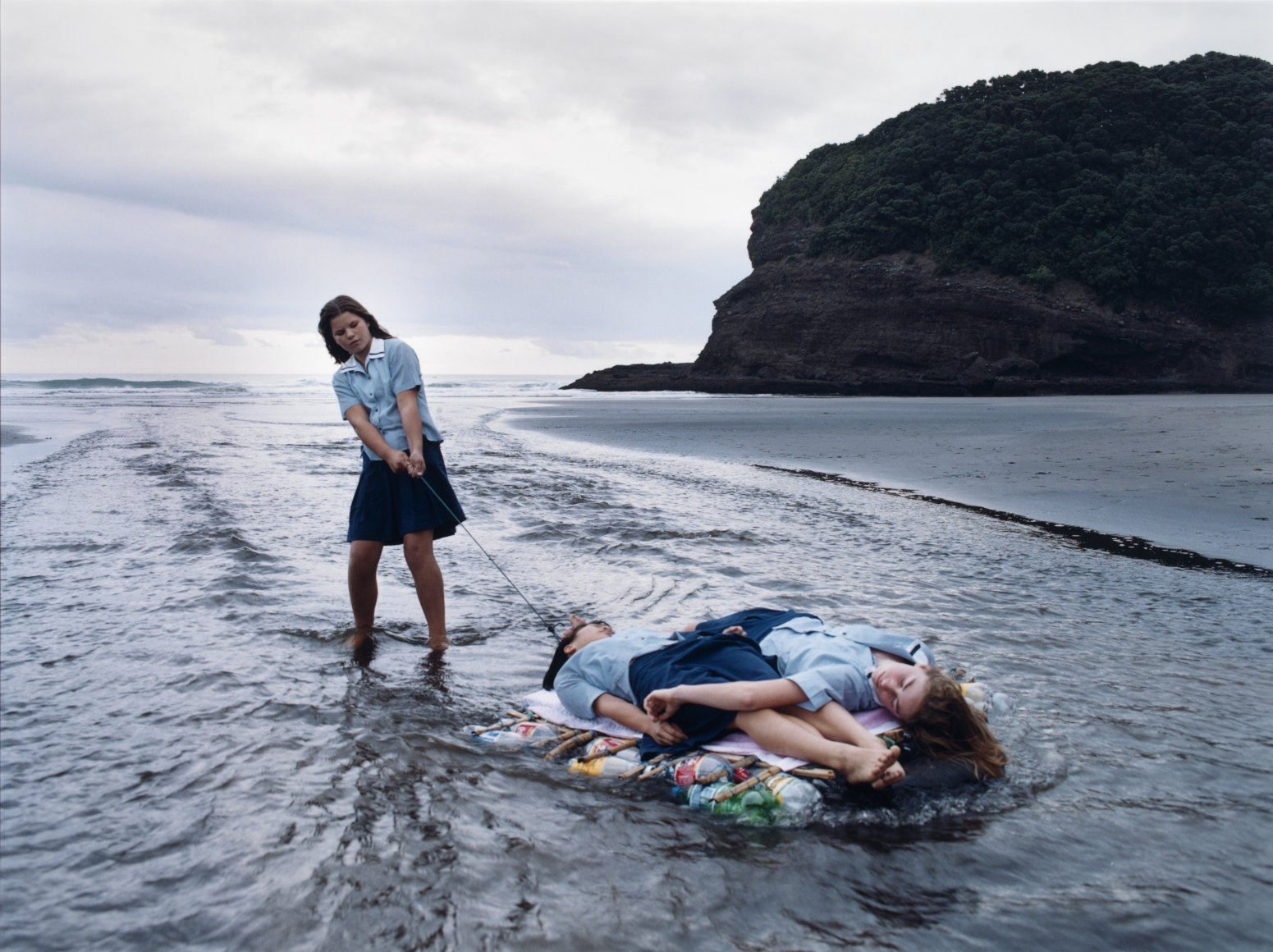 Justine Kurland, Raft Expedition, 2001, satin-finish UV-laminated C-print mounted on 1/8 in. Sintra and painted wood frame, 30 × 40 in.