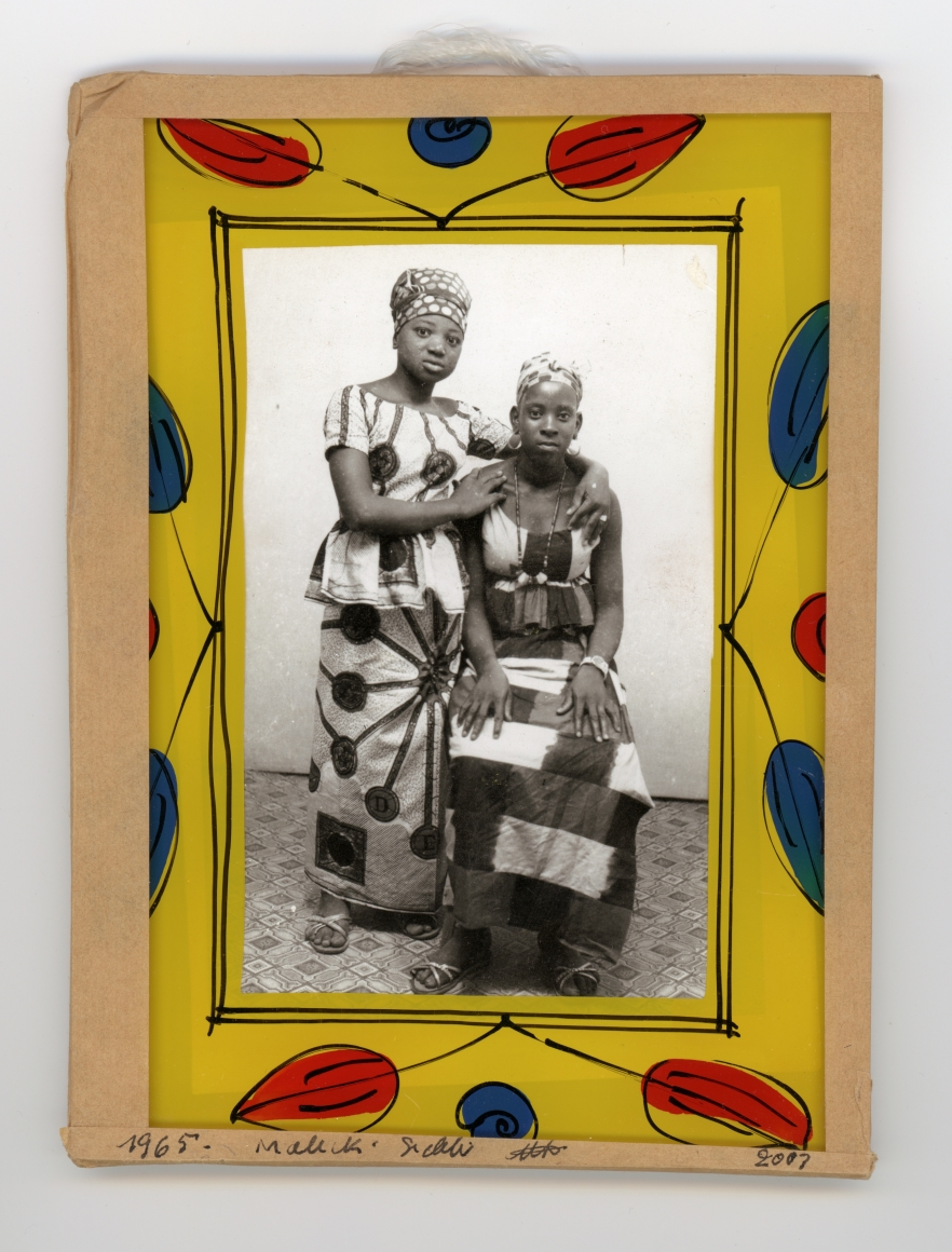 Malick Sidibé, untitled, 1965, vintage gelatin silver print, paint, glass, cardboard, tape, string, 7 1/8 × 5 ¼ in.