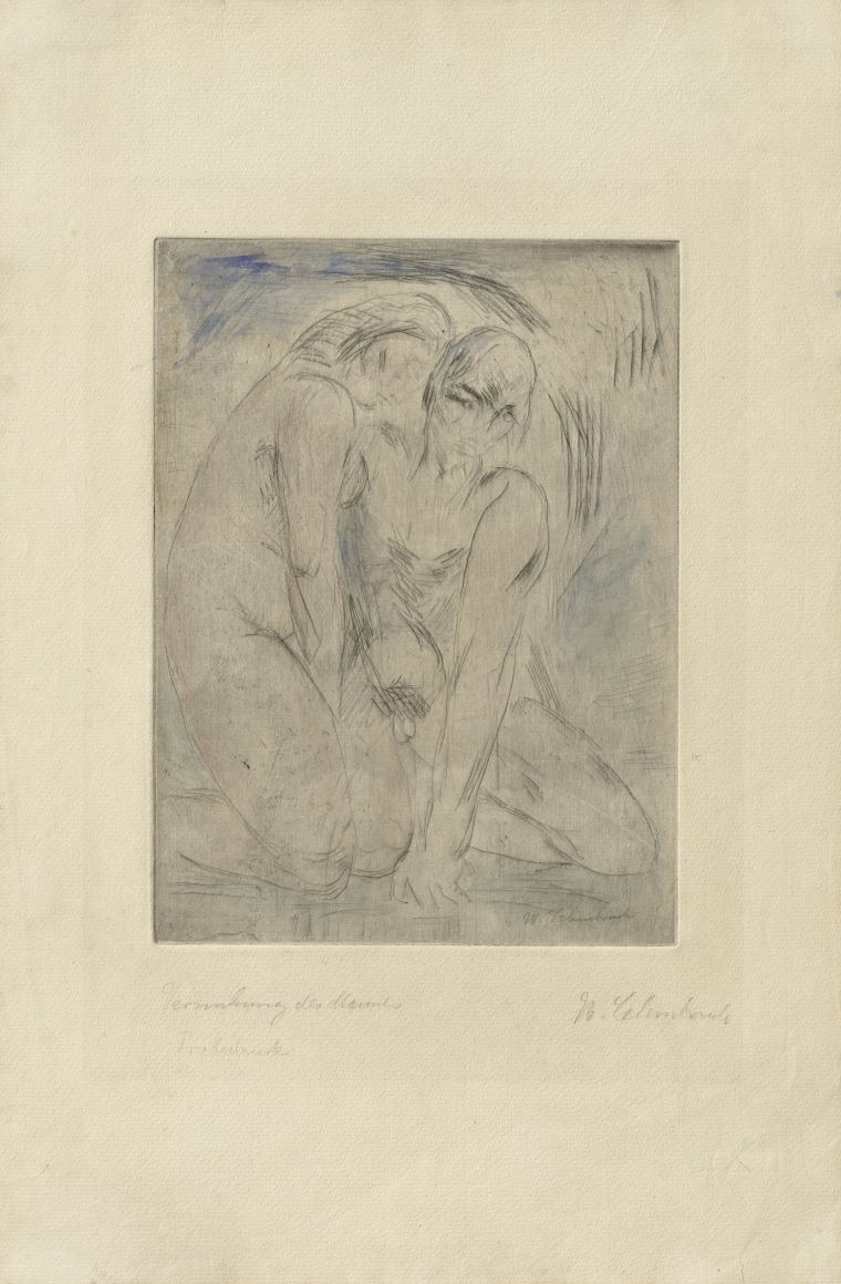 """""""Versuchung"""", 1914 Drypoint etching, watercolor, trial proof"""