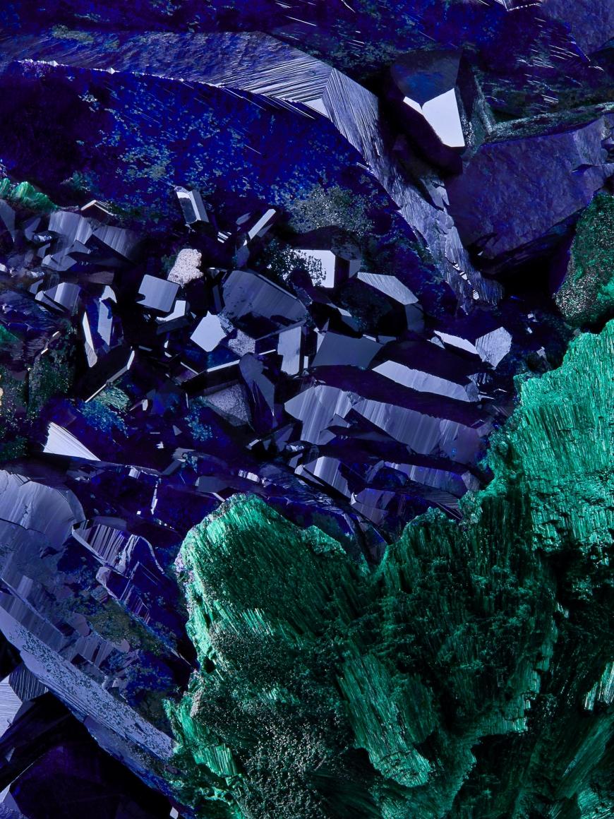 Azurite texture detail with malachite