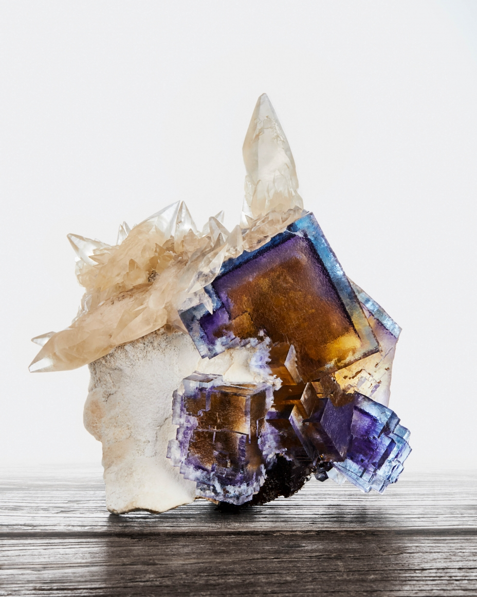 Calcite & Fluorite on Barite