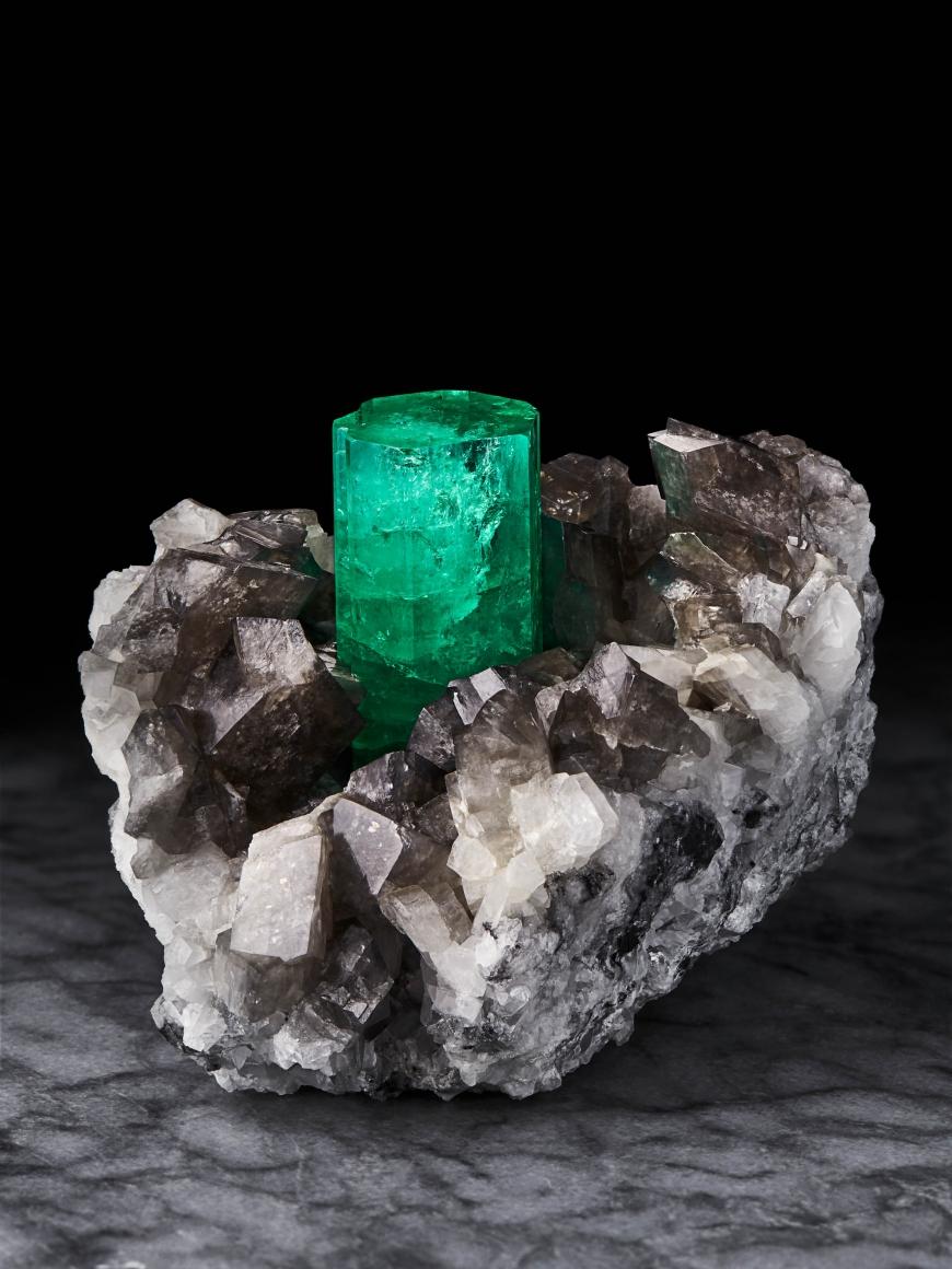 Emerald on Calcite