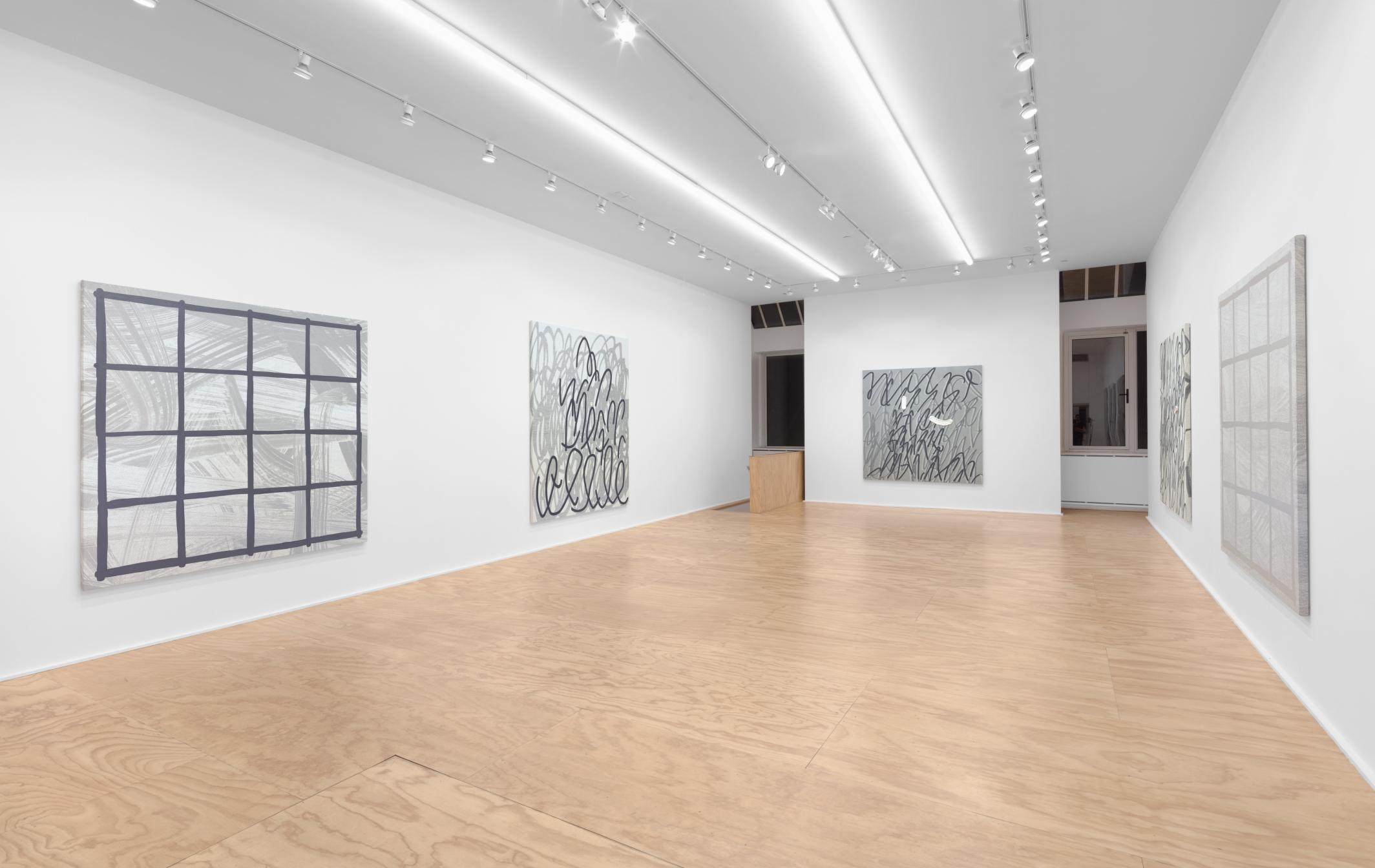 Installation view of Amy Feldman paintings