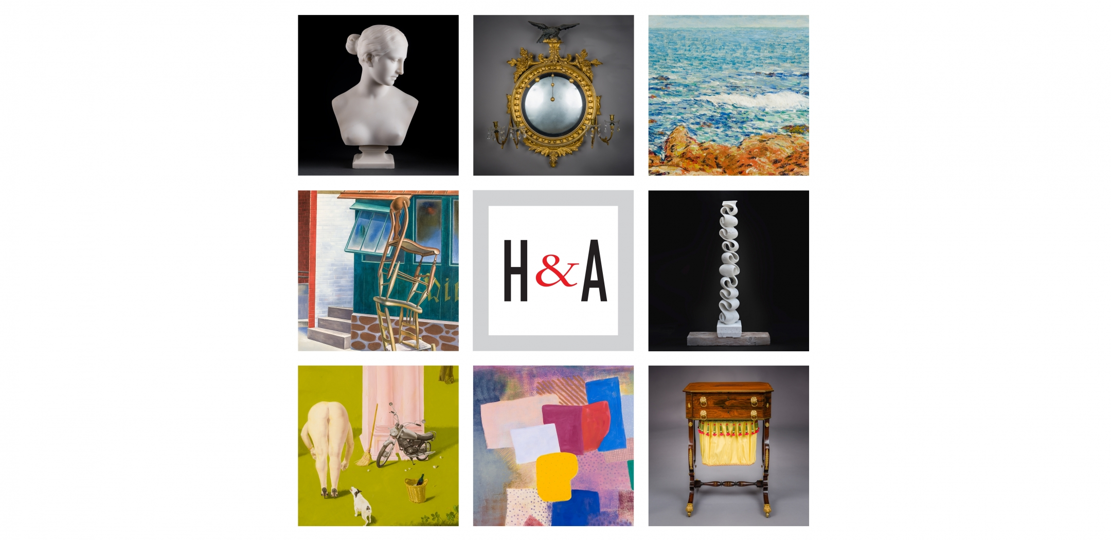 """3 x 3 grid with square details (clockwise from upper left): Hiram Powers, """"Bust of the Greek Slave;"""" American, probably Salem, Massachusetts, """"Convex Girandole Mirror;"""" Childe Hassam, """"Seascape: Isles of Shoals;"""" Elizabeth Turk, """"Script: Column 9;"""" Thomas Seymour, Boston, """"Work Table with Lyre Ends;"""" Robert Natkin, """"Untitled, Hitchcock;"""" Honore Sharrer, """"Roman Landscape;"""" O. Louis Guglielmi, """"Tumblers."""" Center tile: square Hirschl & Adler logo with red ampersand."""
