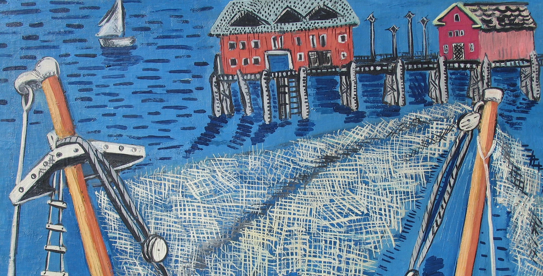 Detail of Irene Rice Pereira's painting Pier, Provincetown.