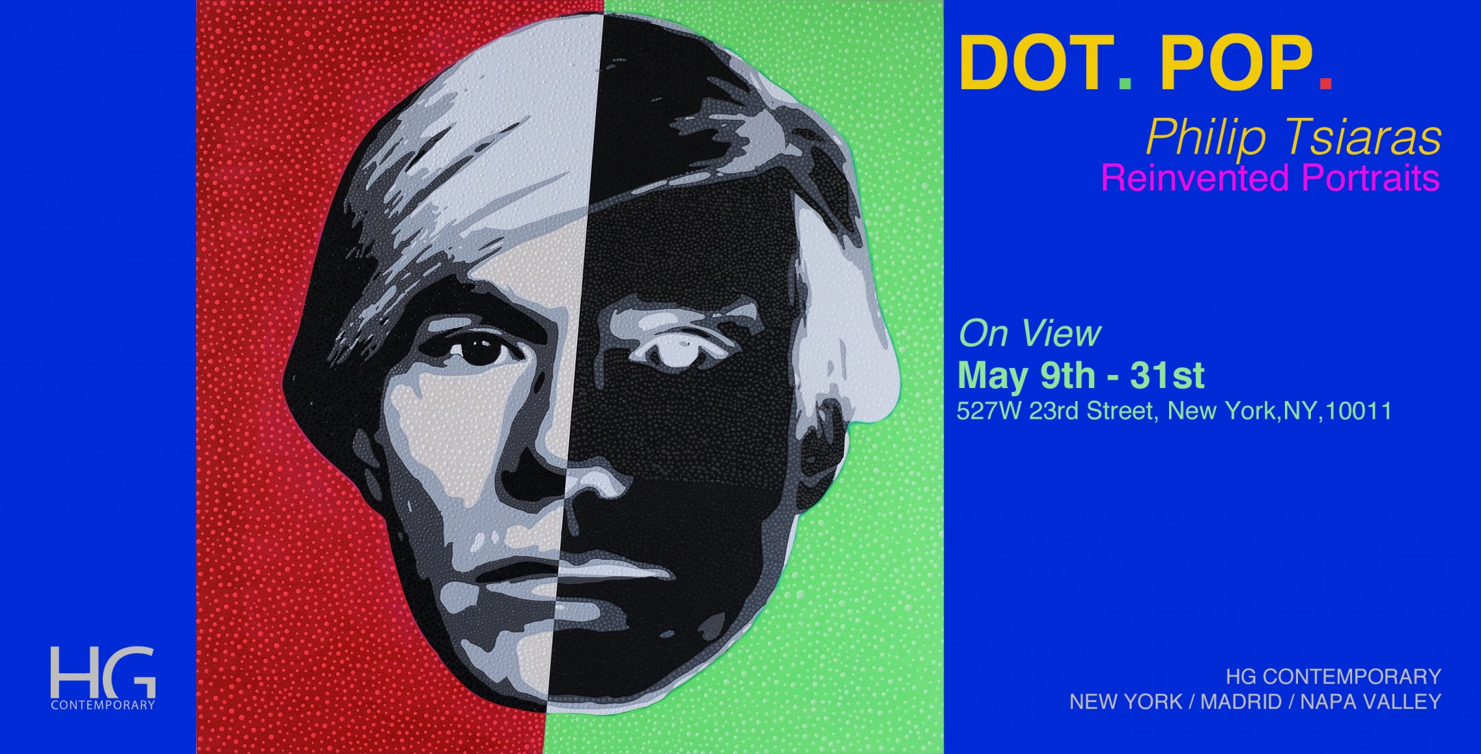 Invite for Dot Pop by Philip Tsiaras at Hg Contemporary Chelsea