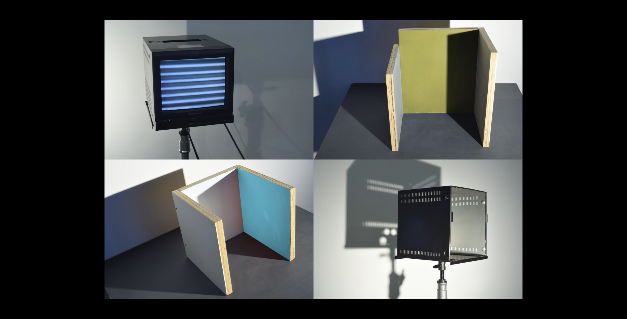 James Woodfill - Code Practice, digital animations of sculptural Code Practice work such as painted structures on tripod supports
