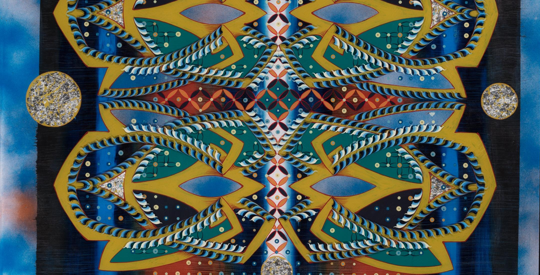 "Tara Austin ""Marquee"", oil, acrylic and silverleaf on plexiglass, 48"" x 48"", 2020, part of Boreal Ornament III through May 30"