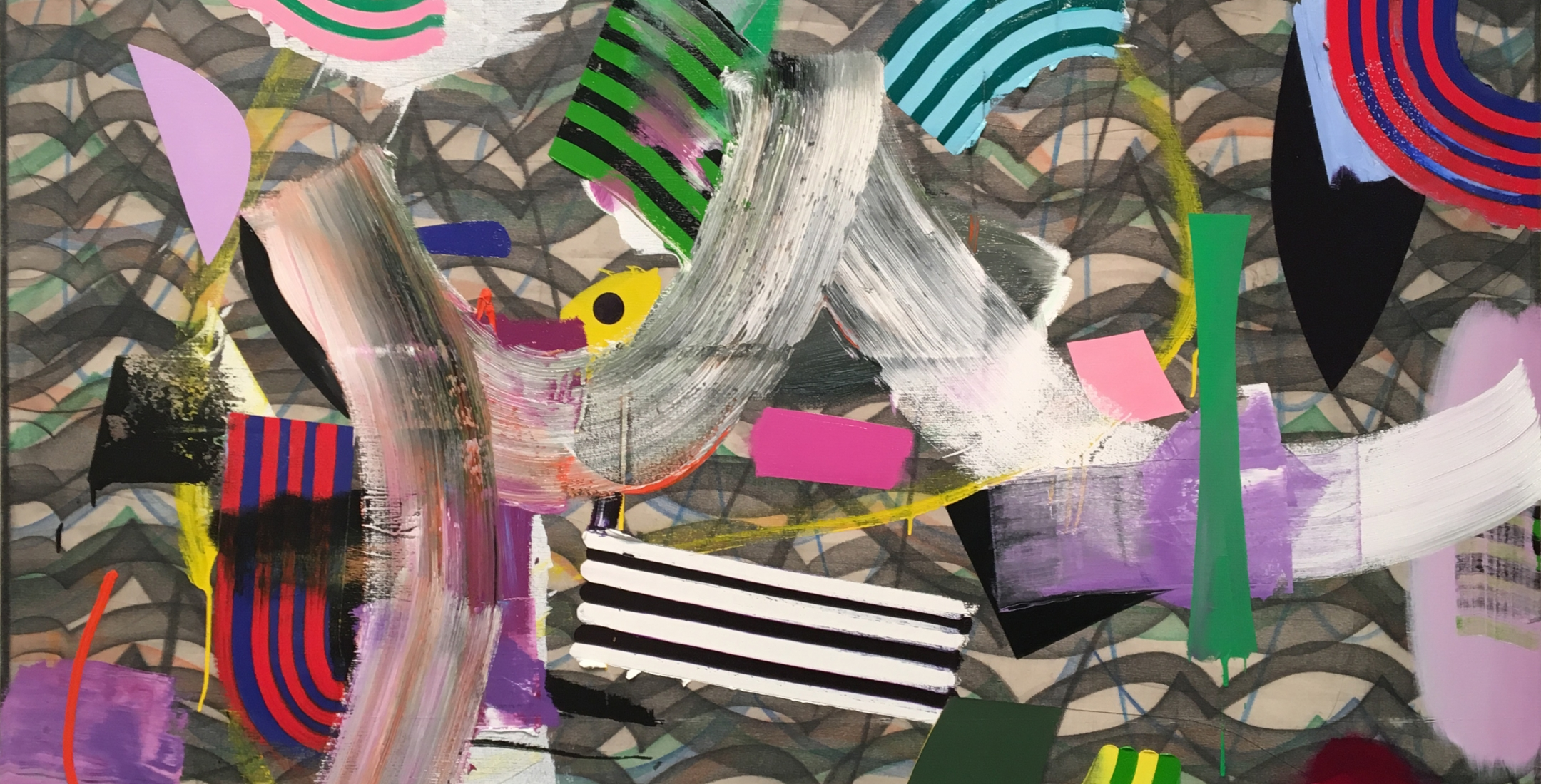 detail of abstract painting by Eric Sall titled Deluge 3 - suggestion of floating shapes in an ocean