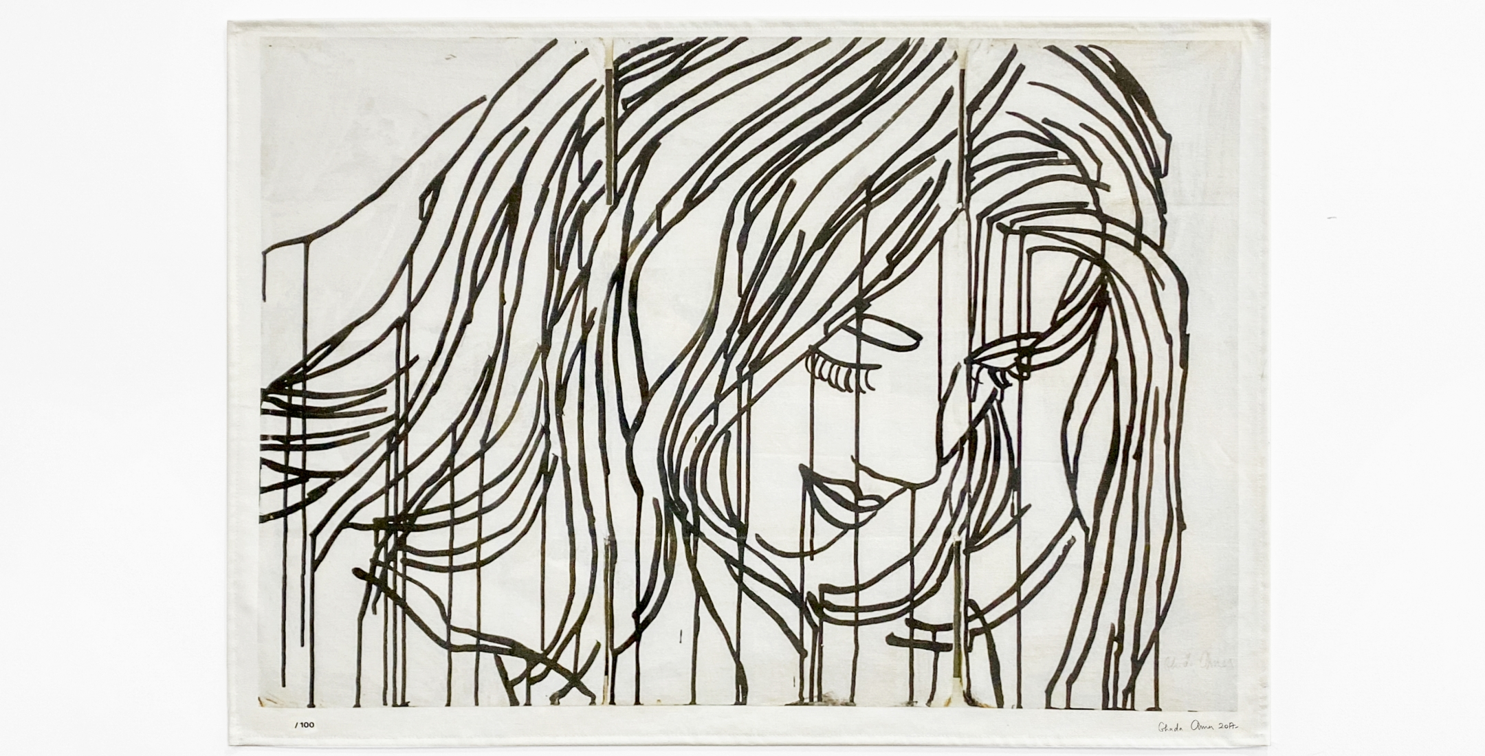 Tina Kim Gallery Presents: Art Without Borders; Ghada Amer, Untitled (based on Study for the Red Portrait, 2017), 2020
