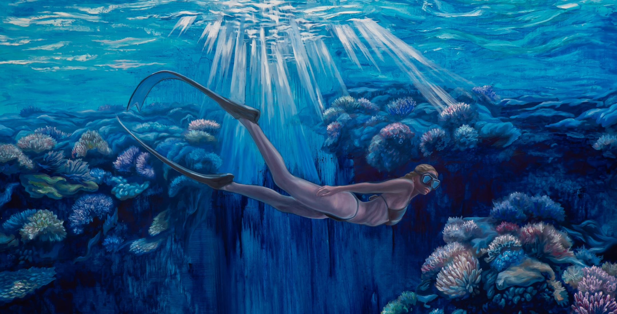 """""""Underwater Dreamer - Self Portrait as a Free Diver"""" painting, being raffled off at CGH."""