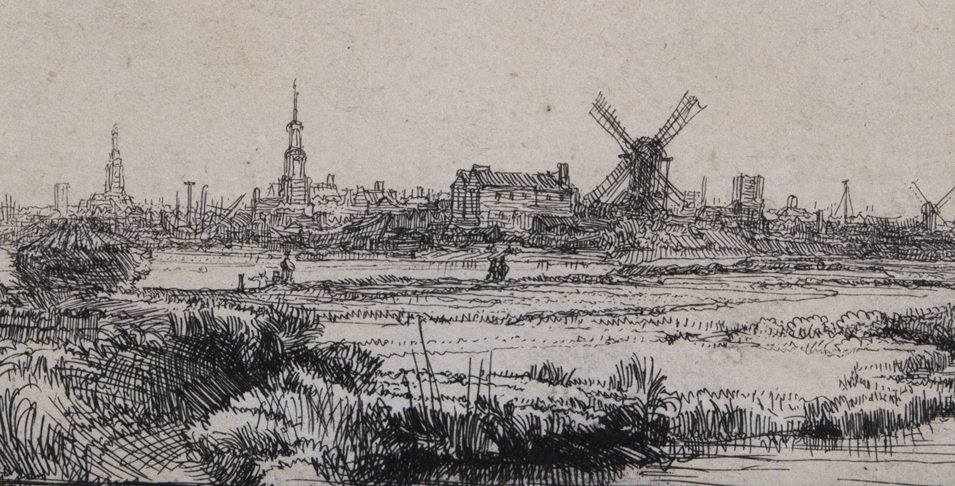 Rembrandt van Rijn, View of Amsterdam from the Northwest