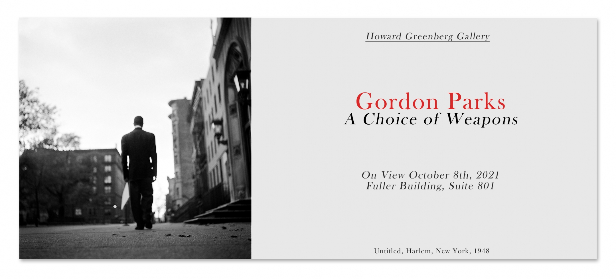 gordon parks, a choice of weapons, howard greenberg gallery, october 8th, opening, suite 801, new space, new york city