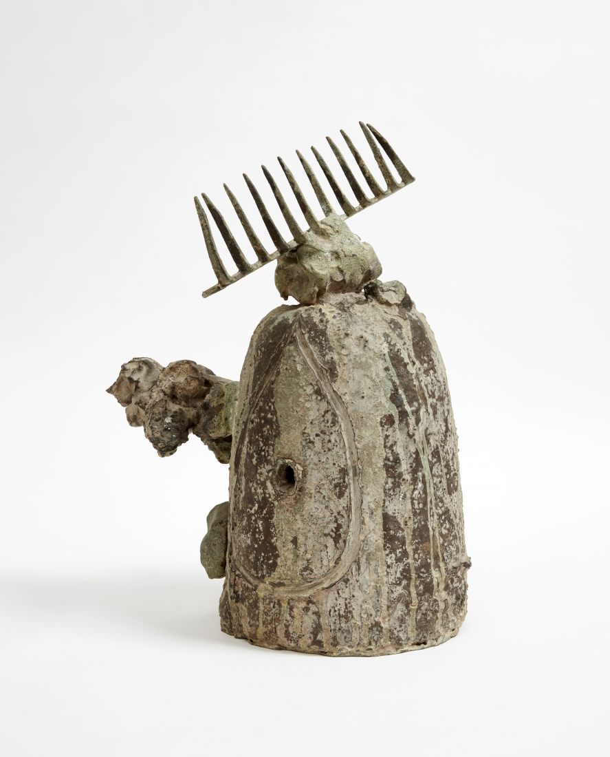 Joan Miró, Personnage (Tête et oiseau) [Personage (Head and Bird)], 1973 Bronze (sand and lost wax casting), Cast 1/2 Fundició Parellada, Barcelona 17 3/8 x 13 x 13 inches (44 x 33 x 33 cm)