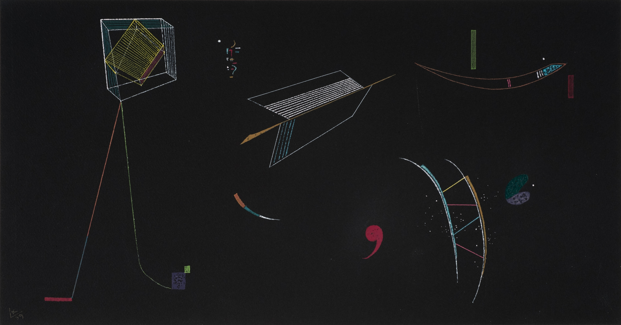 Wassily Kandinsky, Lines, 1939 Watercolor and tempera on black paper 10 1/4 x 19 1/2 inches