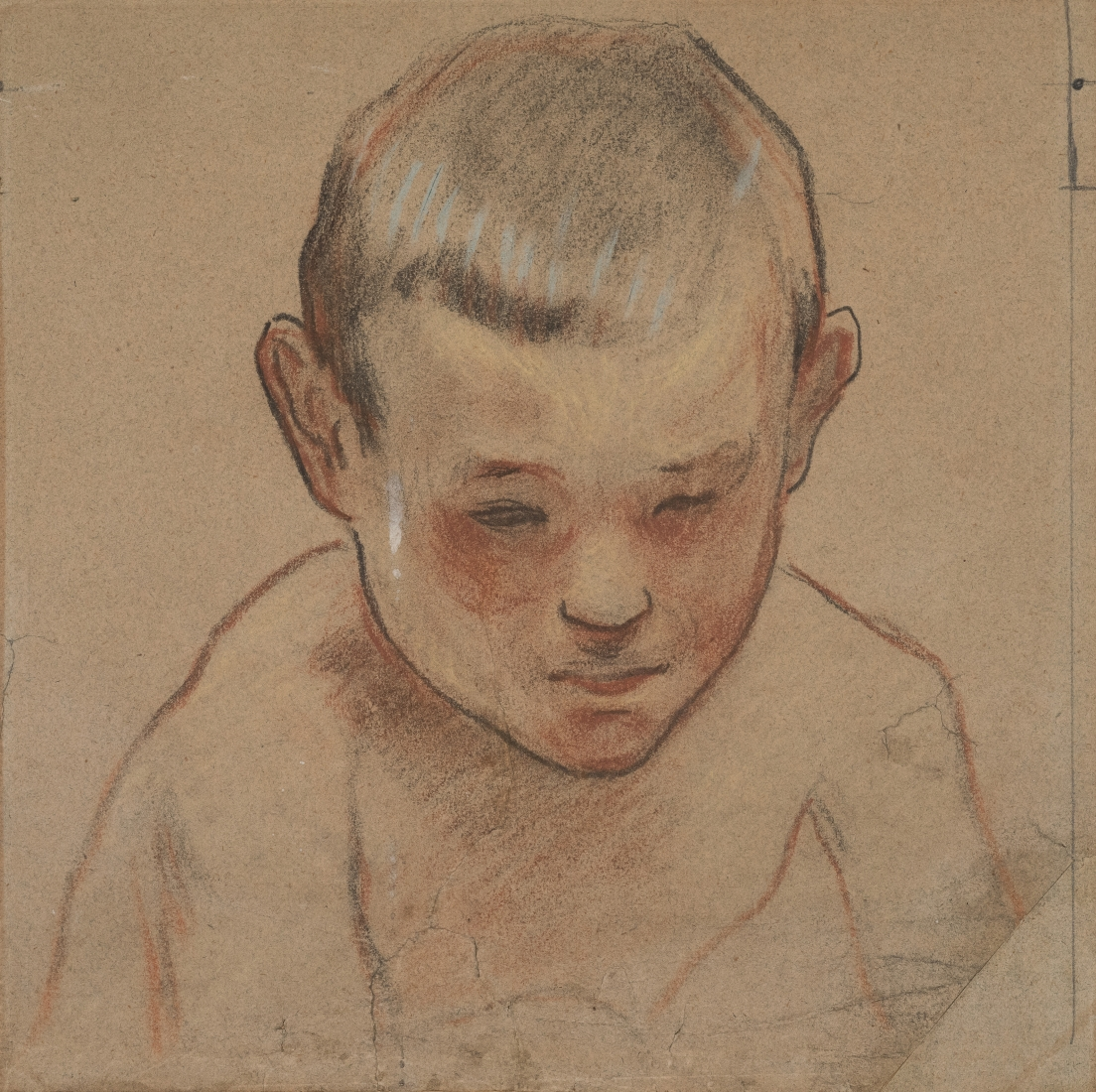 Paul Gauguin Little Breton Boy, c. 1887 Compressed charcoal, red chalk, and white gouache with touches of graphite 7 7/8 x 7 7/8 inches