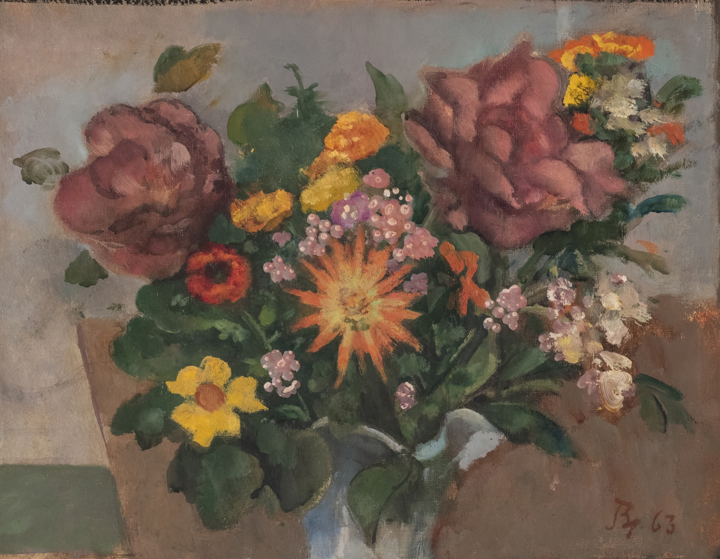 BALTHUS French, 1908-2001 . Fleurs, 1963     Oil and casein on canvas 13 3/4 x 17 5/8 in.