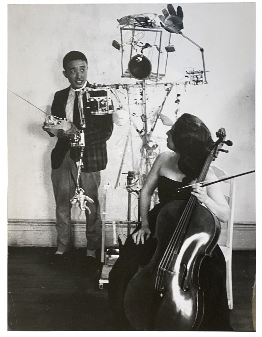 """Nam June Paik, Charlotte Moorman, Peter Moore, Paik's """"Robot Opera"""" in his old loft, 359 Canal Street, NYC, Alternate Projects"""