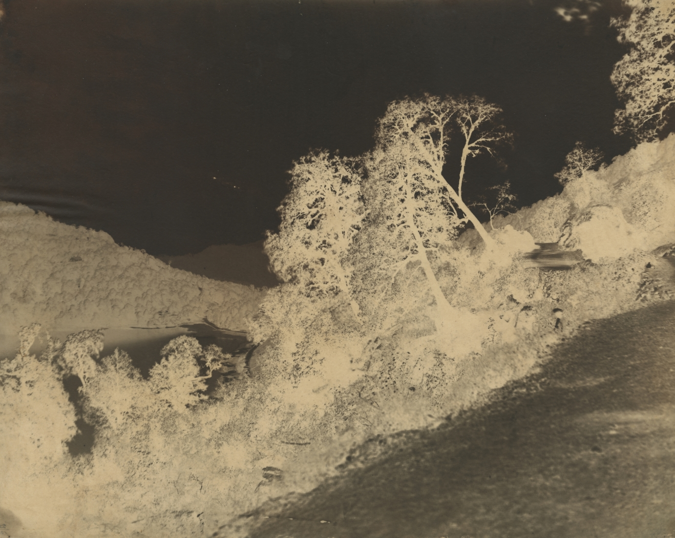 Dr. John MURRAY (Scottish, 1809-1898) View of lake, India, circa 1858-1862 Calotype negative, waxed, with selectively applied pigment 38.2 x 47.2 cm