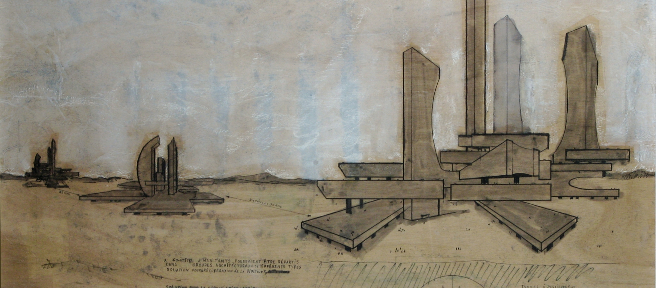 One of di Teana's meticulous sculptural-architectural drawings—plans which he frequently executed in the conception of his work.