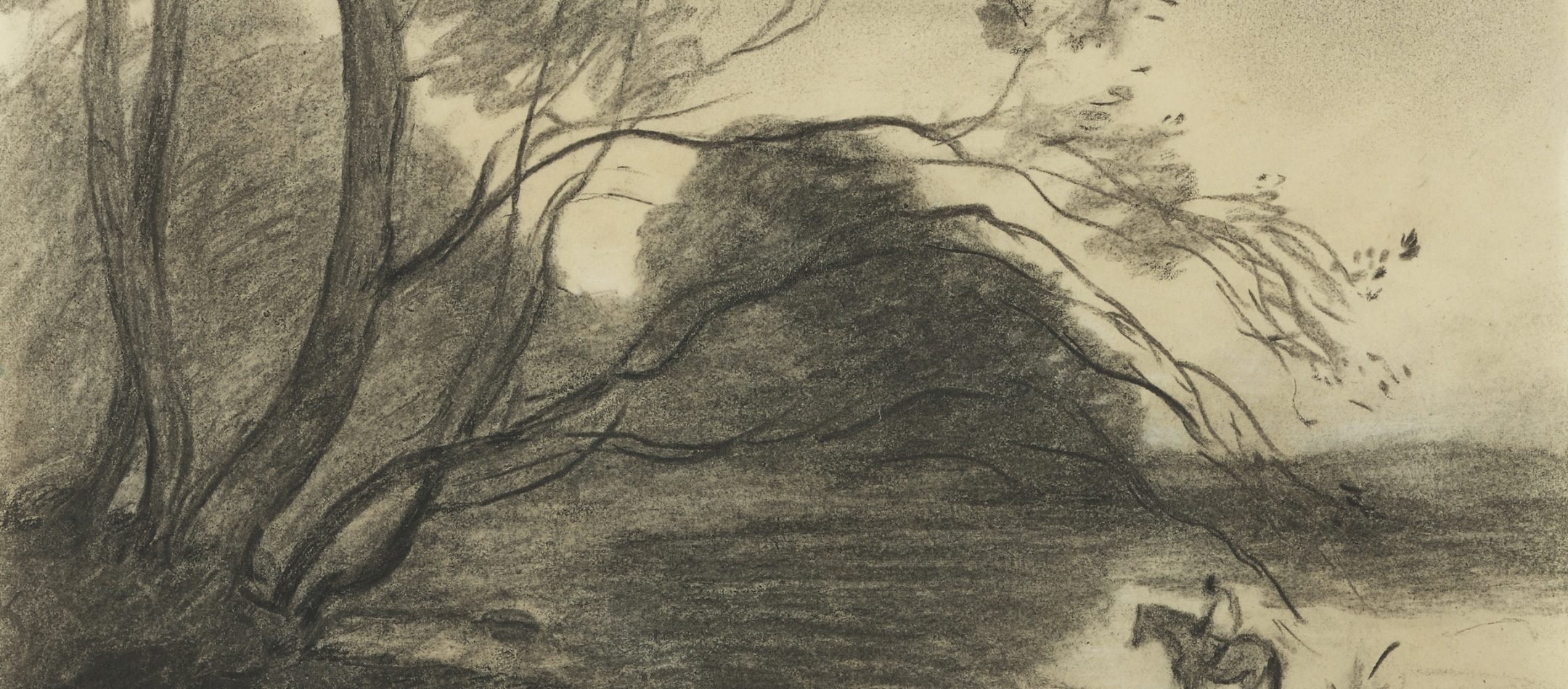 Jean-Baptiste-Camille Corot, The Ford under the Large Tree, c. 1864  Charcoal on paper; 7 1/8 x 11 3/8 inches Private Collection