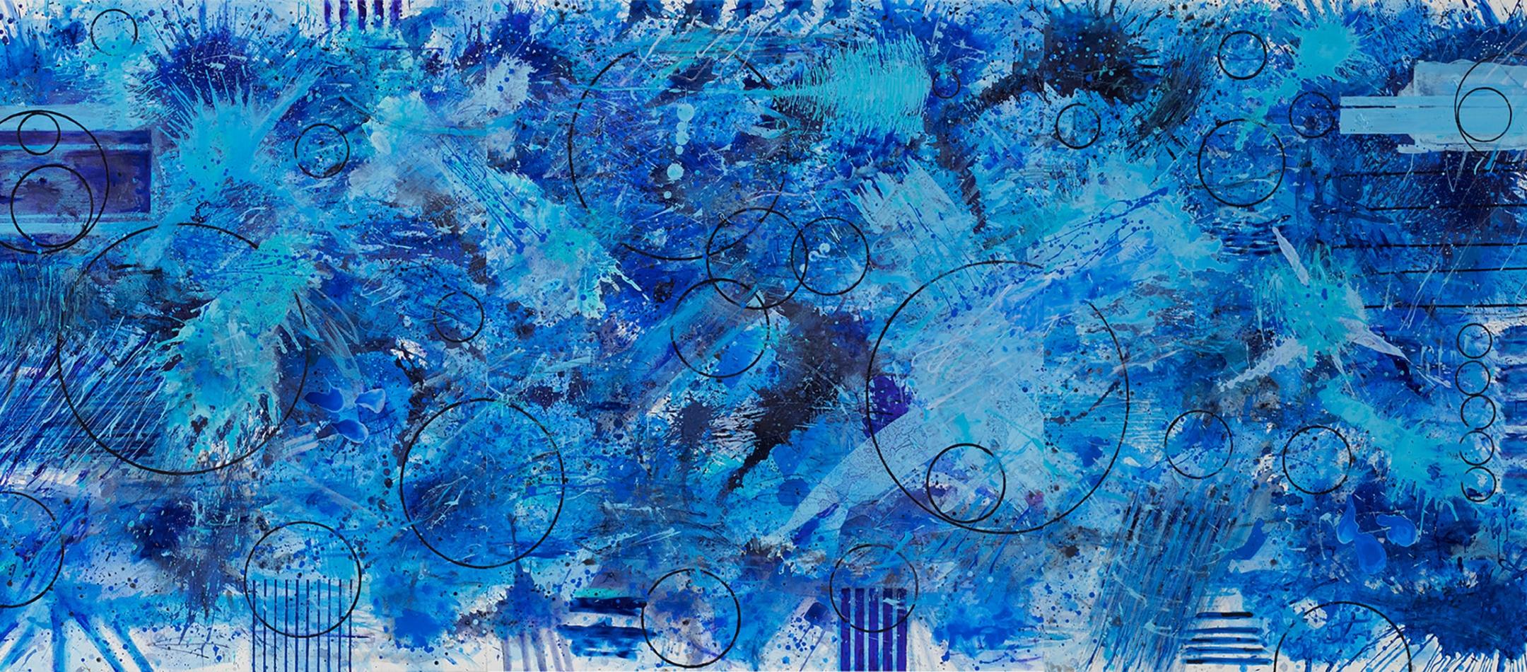 J. Steven Manolis, BlueLand-Splash, 2018, 72x180, Acrylic on canvas