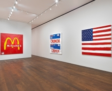 Installation view of Tom Sachs Handmade Paintings
