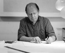 Photo of Jacob El Hanani working in his studio