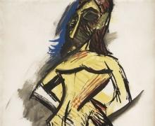 Pablo Picasso,Les demoiselles d'Avignon: Nu jaune (Étude) [Lesdemoiselles d'Avignon: Yellow Nude (Study)] Paris, (June-July 1907)