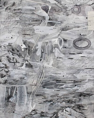 AMY SCHISSEL | ALTO TERRA 2 | PLASTER, ACRYLIC, INK, GRAPHITE, PAPER ON WOOD | 20 X 24 INCHES | 2014