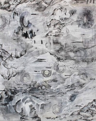 AMY SCHISSEL | ALTO TERRA 1 | PLASTER, ACRYLIC, INK, GRAPHITE, PAPER ON WOOD | 20 X 24 INCHES | 2014