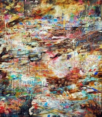 AMY SCHISSEL | VORTEX | ENCAUSTIC, OIL, ACRYLIC, INK, PAPER ON CANVAS | 62 X 76 INCHES | 2011