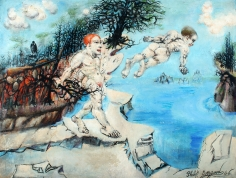 """Philip Evergood 1946 painting titled """"Lure of the Waters""""."""
